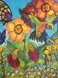 GWinters - Hummingbird 22x22 Dye on Silk
