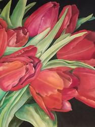 GWinters - Red Tulips 24x20 Dye on Silk.