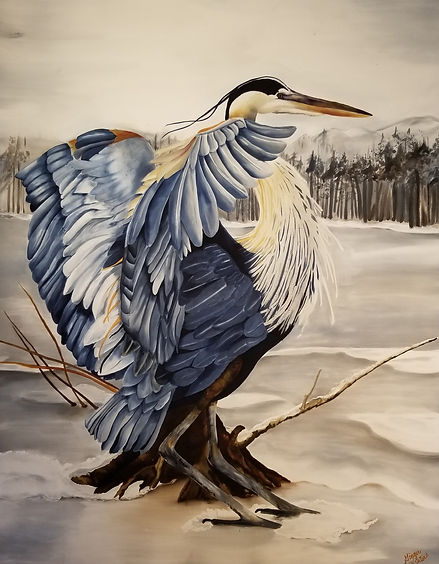 GWinters - Blue Heron on Ice 35x44 Dye o