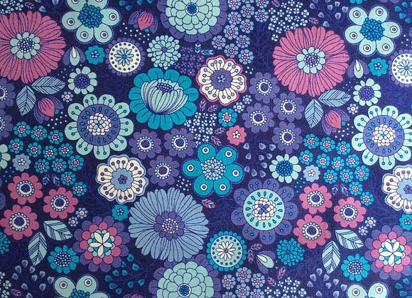 Fabrics - Flower Child, Far Out Floral Blues