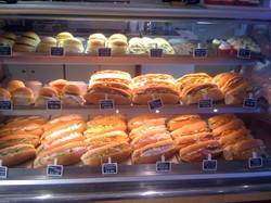 Delicious fresh rolls and baguettes
