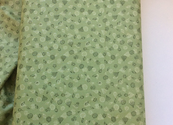 Fabrics - Garden Seeds on Green