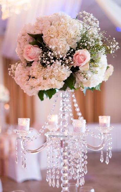 Hydrangea and Pink Rose Flower Arrangement