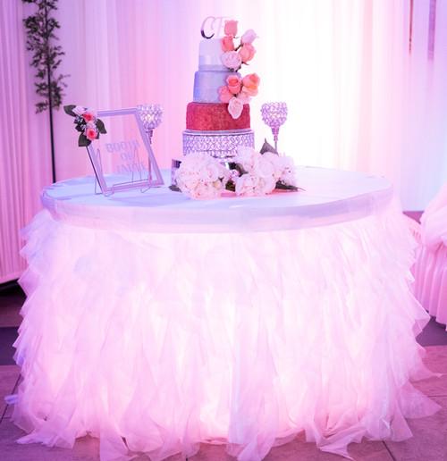 Wedding Cake Table with Uplighting