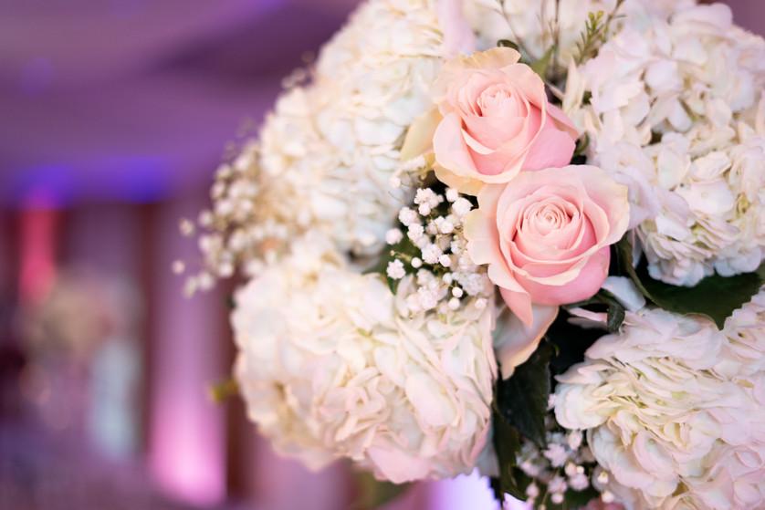 Blush Pink Roses and White Hydrangeas