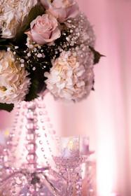 Baby Breath, Hydrangea, Pink Rose Flower Arrangement