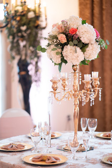 Pink & Gold Banquet Table Decor with Flower Arrangements