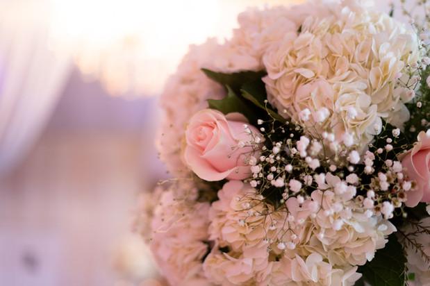 Pink Rose, Hydrangea, Baby Breath Flower Arrangement