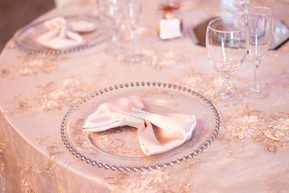 Satin Linens, Champagne Overlays, Crystal Charger Plates, Blush Pink Satin Napkins, Glassware