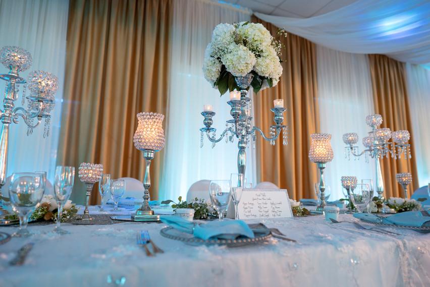 Baby Blue Table Decor, Silver Candelabras, White Hydrangeas