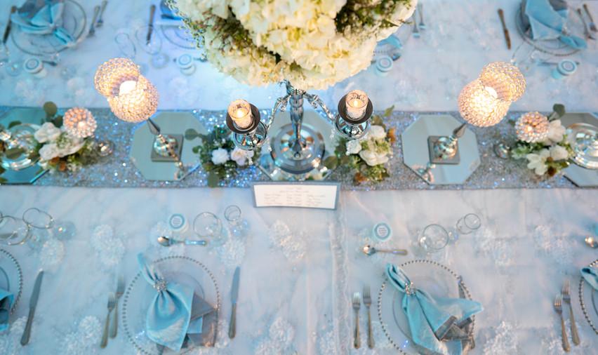 Baby Blue Table Decor, Candles, Hydrangeas
