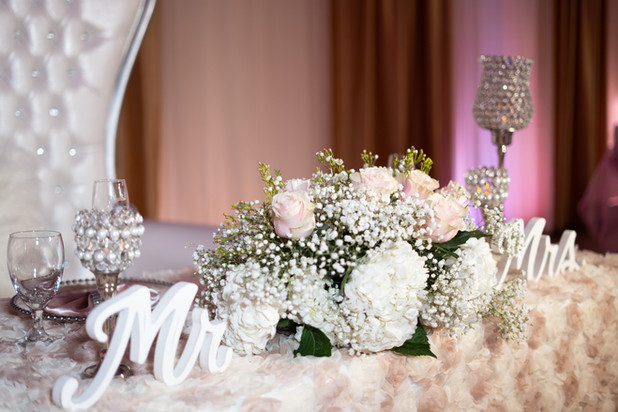 Blush Pink Sweetheart Table with MR and MRS sign