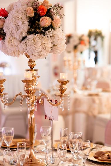 Gold Candelabras with Flower Arrangement, Gold Table Decor