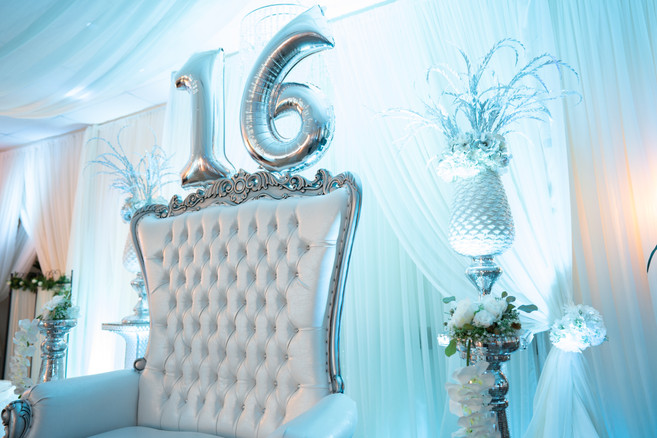 White and Silver Throne for Birthday Girl, Sweet 16