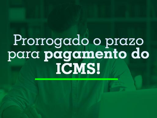 Prorrogado o prazo para pagamento do ICMS