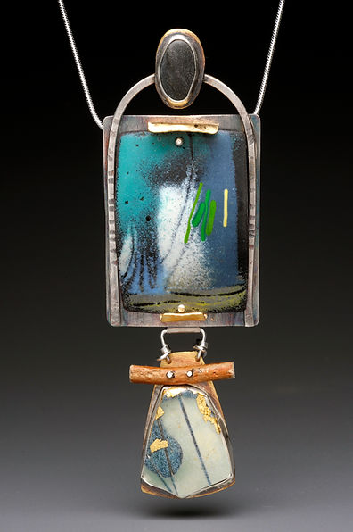 "Enamel pendant with sterling, brass, pottery shard, wood, beach stone.  2"" x  4"""