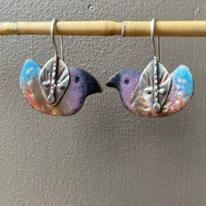 Enamel bird earrings