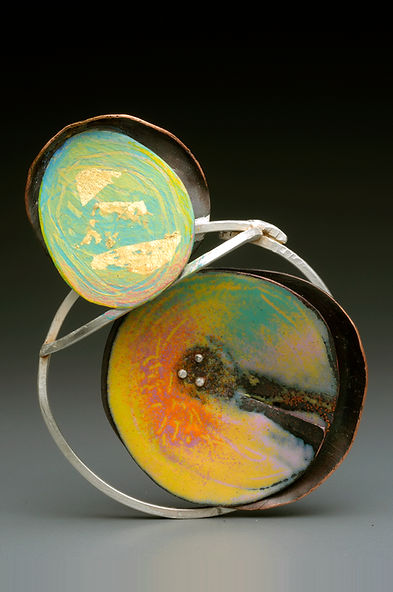 "Enamel Brooch/Pendant with sterling silver, brass, acrylic paint, gold leaf  3"" x 3"""