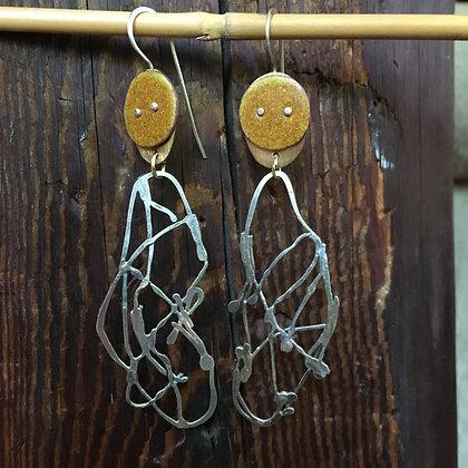 Enamel and wire earrings