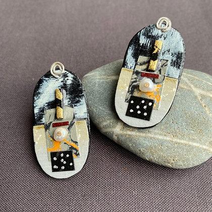 Collage post earrings