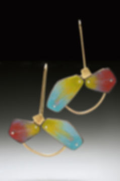 """Enamel earrings with gold-filled accents.  2"""" x 2"""""""