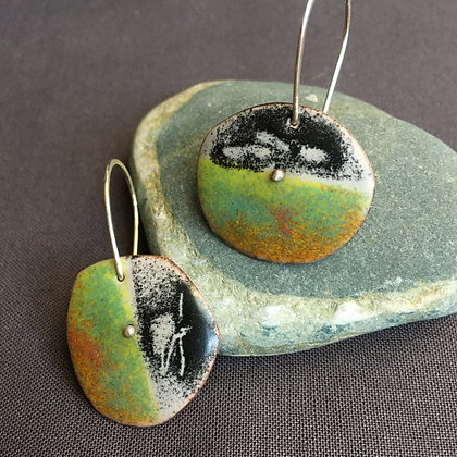 Asymmetric enamel earrings