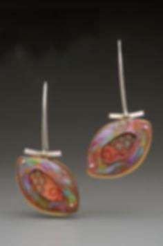 "Enamel earrings with fabric inset, sterling silver, brass.  1.5"" x 2"""