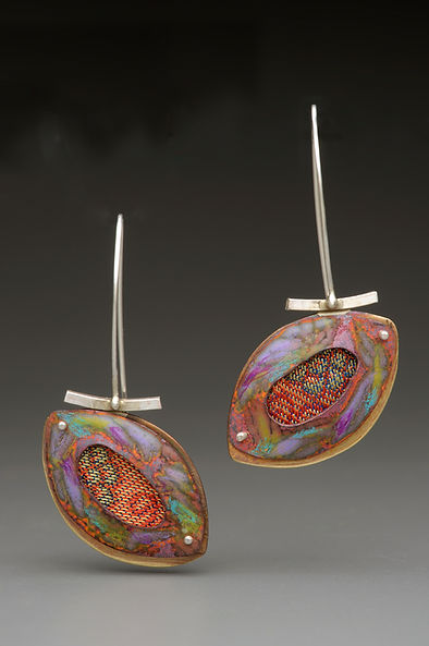 "Enamel earrings with fabric inset, sterling silver, brass.  1.5"" x 2"""