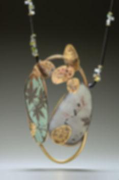 """Enamel neckpiece wtih brass, paper, glass beads.  2"""" x 4"""" x 20"""""""