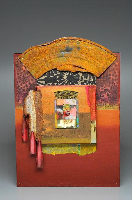 Garden Shrine-acrylic paint and fabric o