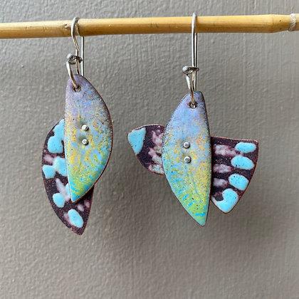 Asymmetric enamel bird and leaf earrings