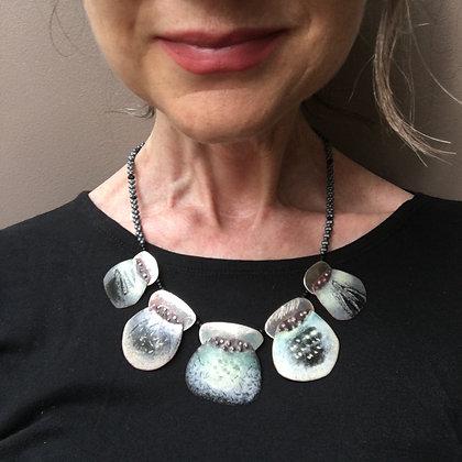 Beaded enamel necklace