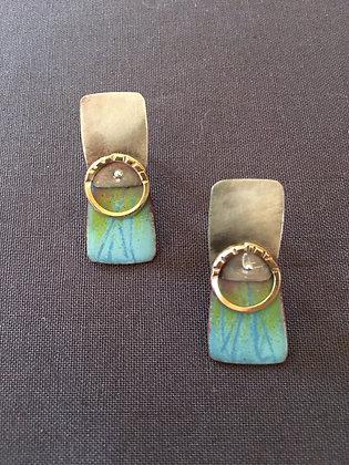 Enamel post earrings