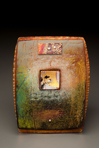 "Enamel brooch/pendant with brass, copper, acrylic paint, gold leaf.  2"" x 3"""