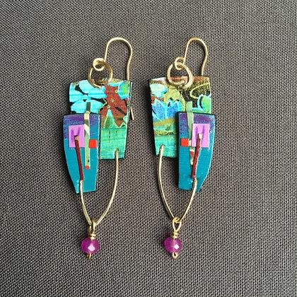 Collage earrings