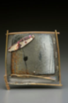 """Enamel brooch/pendant with sterling, gold-filled, copper.  2"""" x 2"""""""