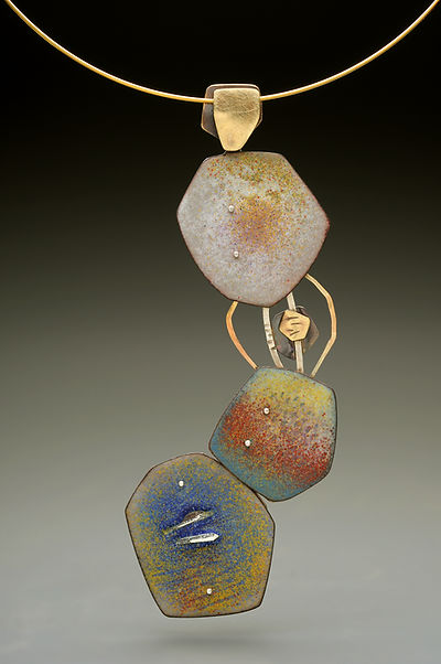 "Enamel pendant with sterling, gold-filled.  1.5"" x 4"""