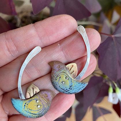 Enamel bird post earrings