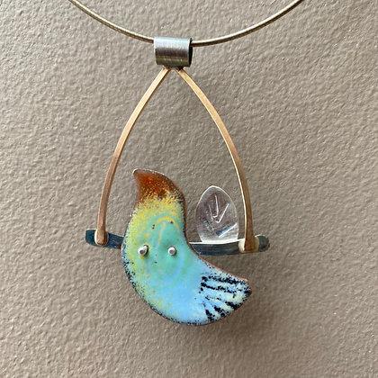 Enamel bird pendant