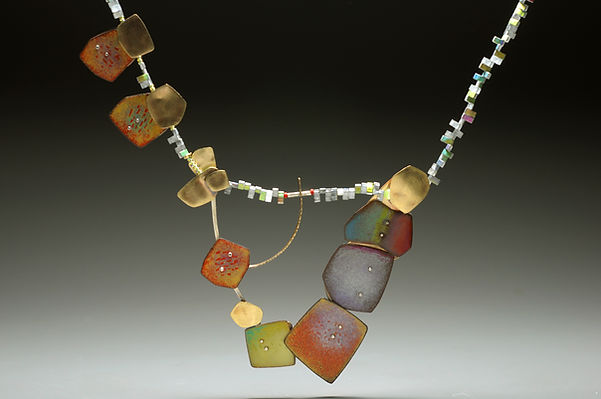 "Enamel neckpiece with sterling, brass, glass beads.  3"" x 20"""