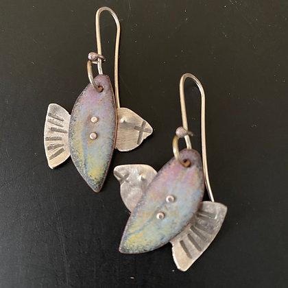 Enamel bird earrings