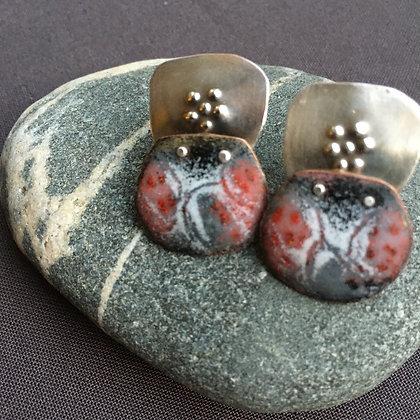 Enamel and silver post earrings