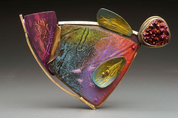 "Enamel brooch/pendant with sterling silver, druzy stone, acrylic panint.  3"" x 2"""