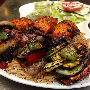 Fresly Cooked Chicken and Veggie Kabob combo from Sacramento Kabob Palace