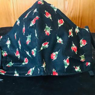 #1-14 Red Rose Buds on Black -$15.00