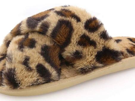 Women's Fuzzy Leopard Slippers Open Toe Cross Band