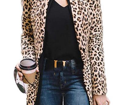 Women's Open Front Long Sleeve Leopard Print Blazer