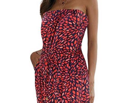 Women Off The Shoulder Boho Strapless Floral Printed Maxi Dress