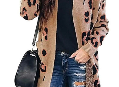 Long Sleeves Leopard Print Knitted Sweater