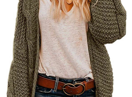 Women Open Front Chunky Knit Long Sleeve Cardigan